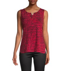 calvin klein women's printed high-low top - rouge combo - size m