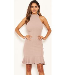 ax paris women's cut in neck bodycon frill hem dress