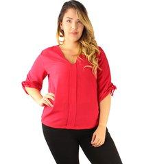 blusas de moda elegantes 2019 adulto femenino roja manga 3/4