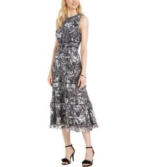 taylor floral-print lace tiered dress