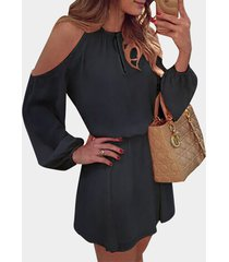 algodón frío negro manga larga vestido con espalda abierta diseño