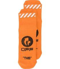 off-white printed logo short-length socks - orange