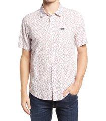 men's rvca solomon floral short sleeve button-up shirt, size medium - ivory