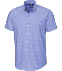 cutter & buck men's big & tall strive three bars jacquard short sleeve shirt