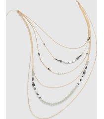 lane bryant women's convertible multi-layer beaded chain necklace onesz black