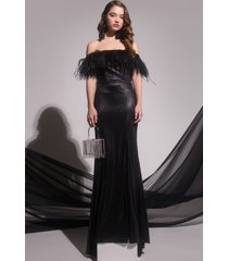 akira black label real feather stunna maxi gown
