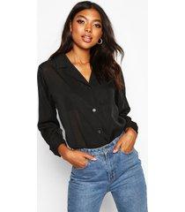 tall doorzichtig gestreepte geweven blouse, black