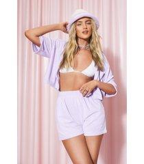 badstoffen overhemd en shorts set met logo, lilac