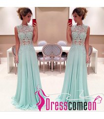 gorgeous high neck lace light blue prom dresses,long evening/party gown l14