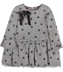 blumarine grey dress for baby girl all-over polka-dots