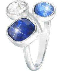 anello regolabile in metallo rodiato e pietre colore per donna