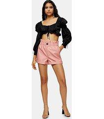pink pu paperbag shorts - pink
