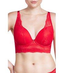 women's parfait sandrine plunge longline underwire bra, size 38ff - red