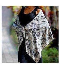 silk batik shawl, 'butterfly blossoms' (indonesia)
