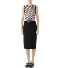 women's gucci gg macrame dress, size 12 us / 48 it - black