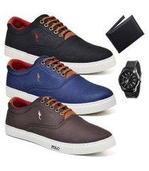 kit 3 pares sapatênis polo blu casual preto/azul/café acompanha carteira + relógio