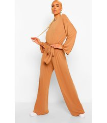 flared sleeve slouchy casual wide leg jumpsuit, caramel