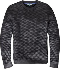 cast iron zwarte coated slim fit trui katoen valt kleiner