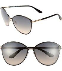 women's tom ford penelope 59mm gradient cat eye sunglasses - shiny rose gold/ black
