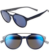 men's salvatore ferragamo 53mm round sunglasses - blue/ grey