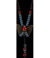 bohemien collana con pendente di farfalla fiore e perline con corda lunga etnica