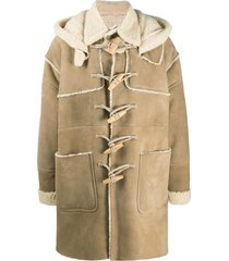dsquared2 shearling-lined duffle coat - neutrals
