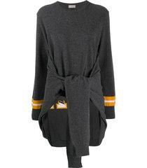 mrz waist-tied draped jumper - grey