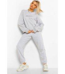 oversized geborduurd woman sweater met tekst, grey marl