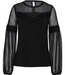 maglia a maniche lunghe con mesh e pizzo (nero) - bodyflirt