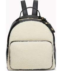 tommy hilfiger women's shearling backpack natrual/black -