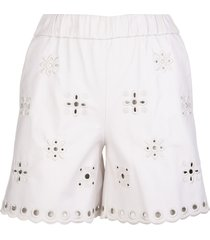 red valentino white leather shorts with sangallo embroidery