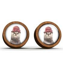 kolczyki drewniane - wydra - sztyfty