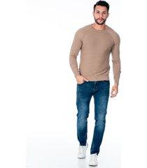 suéter tejido acanalado beige para hombre