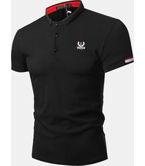 mens summer embroidery logo sottile fit business casual golf camicia