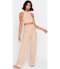womens racerback to bed ribbed wide-leg pants lounge set - stone