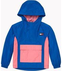 tommy hilfiger girl's adaptive lightweight colorblock jacket singsong navy - l