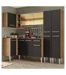 cozinha completa de canto madesa emilly line com balcão, armário vidro reflex e paneleiro rustic/preto rustic/preto
