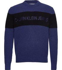 colour block stripe gebreide trui met ronde kraag blauw calvin klein jeans