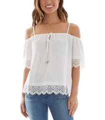 bcx juniors' cold-shoulder crochet-trim top