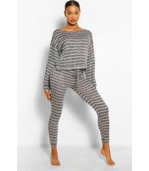 striped knitted top & legging lounge set, black