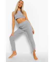 geribbelde pyjama set met split, grey