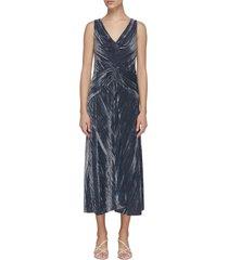 ruched panel v-neck pleated velvet dress