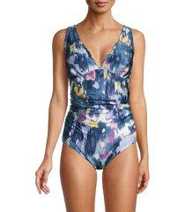 dkny women's printed ruffle-trim one-piece swimsuit - bali blue - size 10