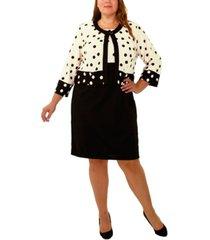 ny collection plus size 3/4 sleeve jacket and sleeveless dress