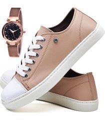 tênis sapatênis casual asgard com relógio gold feminino db 305lbm rosa