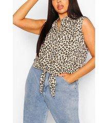 plus leopard print tie front top, stone