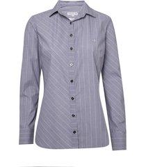 camisa dudalina manga longa tricoline fio tinto mix listras feminina (listrado, 46)