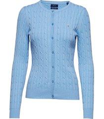 stretch cotton cable crew cardigan gebreide trui cardigan blauw gant
