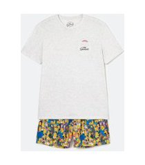 pijama curto estampa the simpsons | simpsons | cinza | m