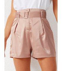yoins rosa cinturón diseño shorts de raso de talle alto